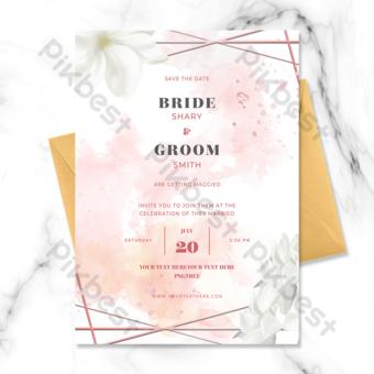 invitación de boda de borde floral rosa de moda simple y exquisita Modelo PSD