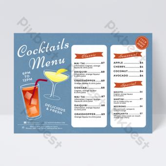 Menu cocktail de jus de blue Modèle PSD