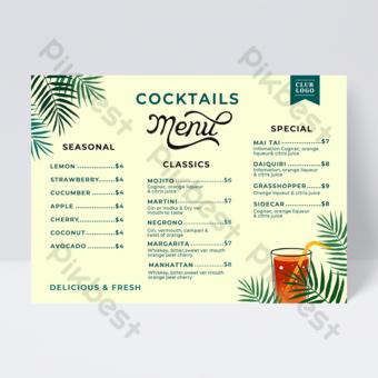 Feuilles d'été Menu de cocktail de jus de couleur Modèle PSD