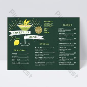 Menu de boisson cocktail de jus d'été vert Modèle PSD