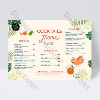 Jus d'été coloré Menu de boissons de cocktail Modèle PSD