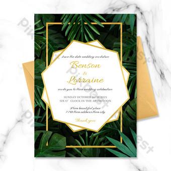 Invitation de mariage de paume créative verte simple Modèle PSD