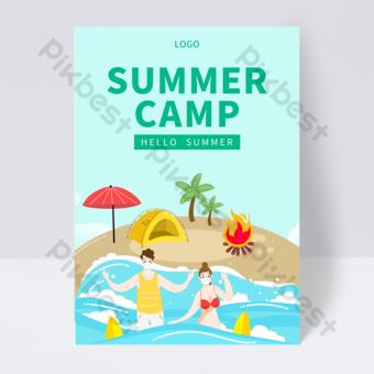 Green seaside beach camping summer camp leaflet Template PSD