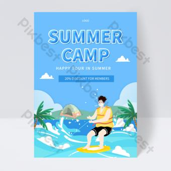 Blue Seaside Beach Cadre Outdoor Activity Flyer Template PSD