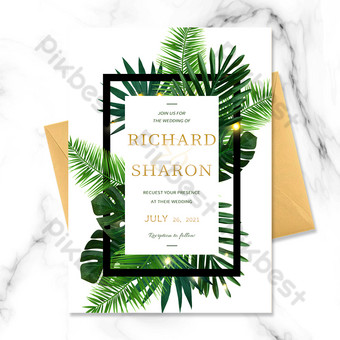 White Search Simple Nordic Style Wedding Invitation Template PSD