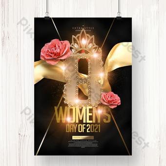 Fashion Senior Golden Flower Women's Day Happy Poster Template PSD