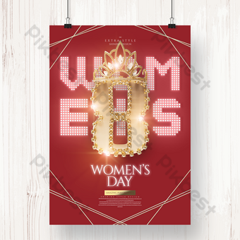 Neon Gold Senior Women's Day Happy Holiday Poster Template PSD