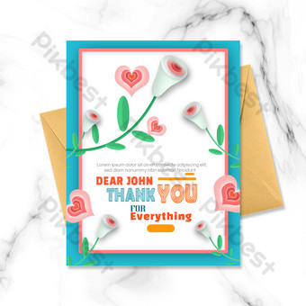 Flor amor rosa gracias tarjeta Modelo PSD