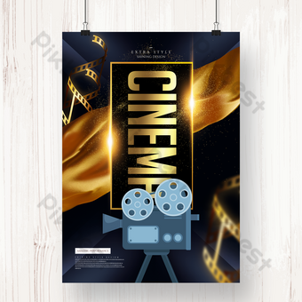 Golden texture cinema movie time poster Template PSD