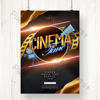 Fashion golden texture cinema movie time poster Template PSD