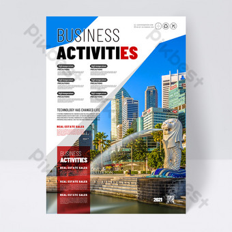 Modern popular business company foreign publicity single page Template PSD