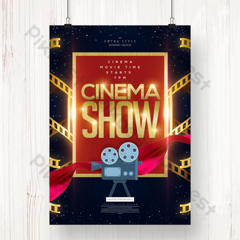 Texture fashion cinema film time poster Template PSD