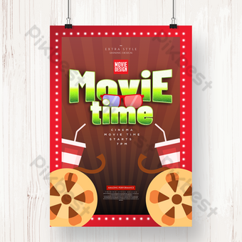 bioskop waktu film fashion pirang poster Templat PSD
