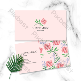 Carte de visite élégante florale articulée rose Modèle PSD