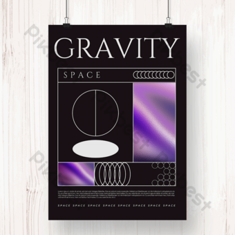 fiksi ilmiah masa depan gradien laser kosmik gravitasi geometric line poster Templat PSD
