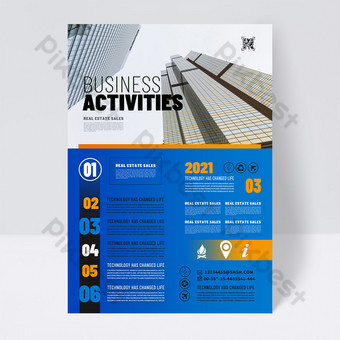 Fashion blue business promotion single page Template PSD