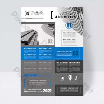 Modern blue gray business promotion single page screen Template PSD