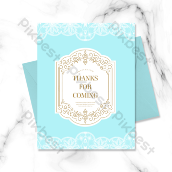 Dentelle bleue magnifique Palace Modèle d'or grâce à une carte de voeux reconnaissante Modèle PSD