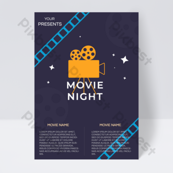 Vintage style film movie time poster flyer Template PSD