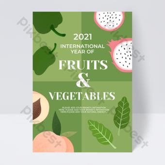 Flyer annuel de légumes de fruits internationaux de Lattice verte Modèle PSD
