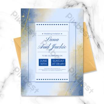 Carte d'invitation de ligne d'or abstraite de fond bleu Modèle PSD