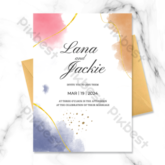 Carte d'invitation de mariage en ligne de fond blanc Modèle PSD