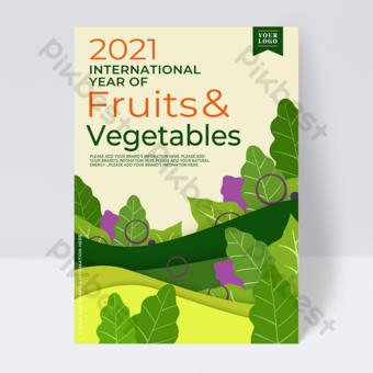 Papier vert coupé verte feuille international fruit flyer annuel Modèle PSD