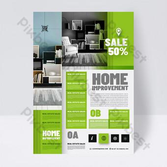 أزياء الحديثة الأخضر المنزل الديكور صناعة النشرة قالب PSD
