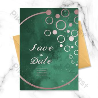 الأخضر الراقية الأزياء روز الذهب دعوة زفاف الذهب قالب PSD