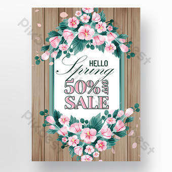 Wood texture flower season promotion poster Template PSD