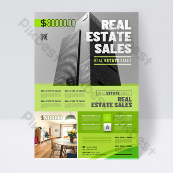 Modern green fashion real estate sales promotion single page Template PSD