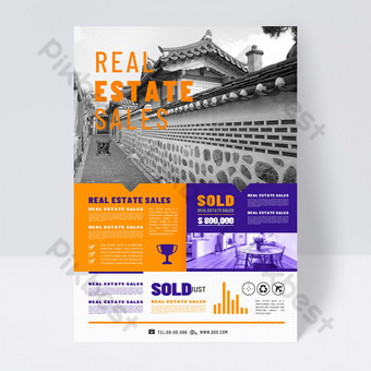Modern popular real estate sales agency promotion single page Template PSD