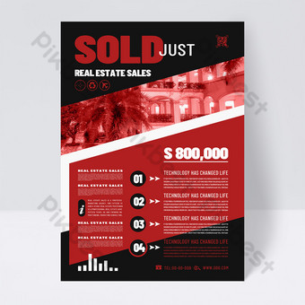 Fashion Red Black Real Estate Sales Service Order Template PSD