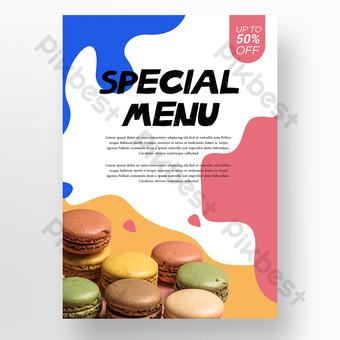 Forma abstracta simple Menú de alimentos Restaurante Plantilla de cartel Modelo PSD