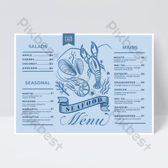 Blue Seafood Lobster Line Style Restaurant Menu Template PSD