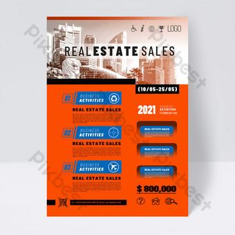 Fashion Modern Orange Real Estate Sales Service Agency Promotion Template PSD