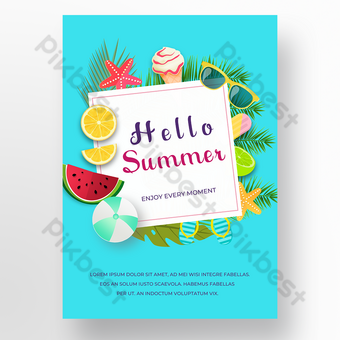 Blue background ice cream summer poster Template PSD