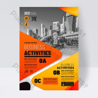 Modern fashion orange business promotion single page Template PSD