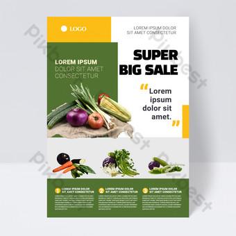 Plantilla de volante de producto de supermercado simple verde Modelo PSD