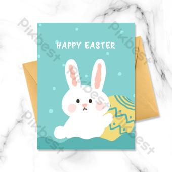 Carte de voeux de lapin tenant un gros oeuf Modèle PSD