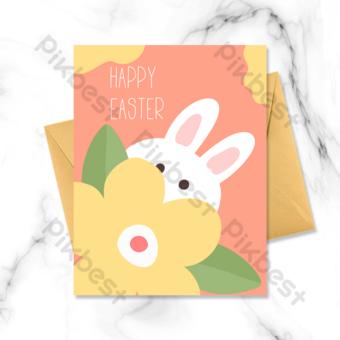 Carte de Pâques de lapin mignonne cachée derrière des fleurs Modèle PSD