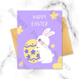 Carte de voeux de Pâques de lapin titulaire de l'œuf Modèle PSD