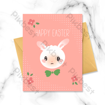 Carte de voeux de Pâques de la lapin blanc de la bande dessinée Modèle PSD