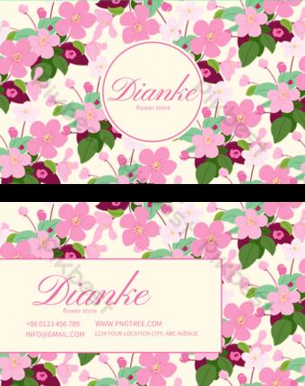 Carte de visite florale élégante rose Modèle PSD
