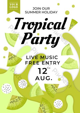 Ewaiqi Kiwi Papier Couper le flyer de fête des fruits d'été Modèle PSD