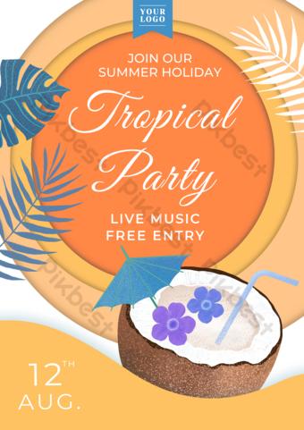 Papier Cut Style Coconut Summer Party Flyer Modèle PSD