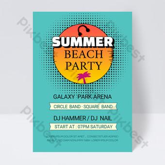 Modèle de flyer de fête de fête de plage de Beach de 90 ans Modèle PSD