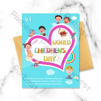 Día de los niños de la muchacha linda de la muchacha del niño amor de la tarjeta de felicitación de la historieta del fondo azul Modelo PSD