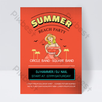 Plantilla de folleto de fiesta de playa de Pop Stylus rojo de 90 años Modelo PSD