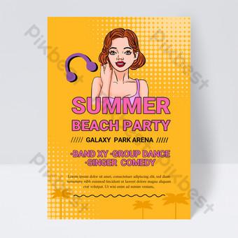 Modèle Flyer de fête de fête de plage d'été de 90 ans Modèle PSD